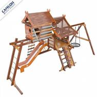 Деревянный игровой комплекс для детей - САМСОН ХИЖИНА АКВИТАНИЯ, два уровня, скалодром, горка, качели, рукоход, фото 1