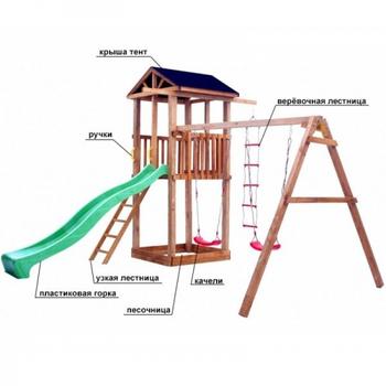 Детская площадка МОЖГА СПОРТИВНЫЙ ГОРОДОК 1 С КАЧЕЛЯМИ КРЫША ТЕНТ, фото 4